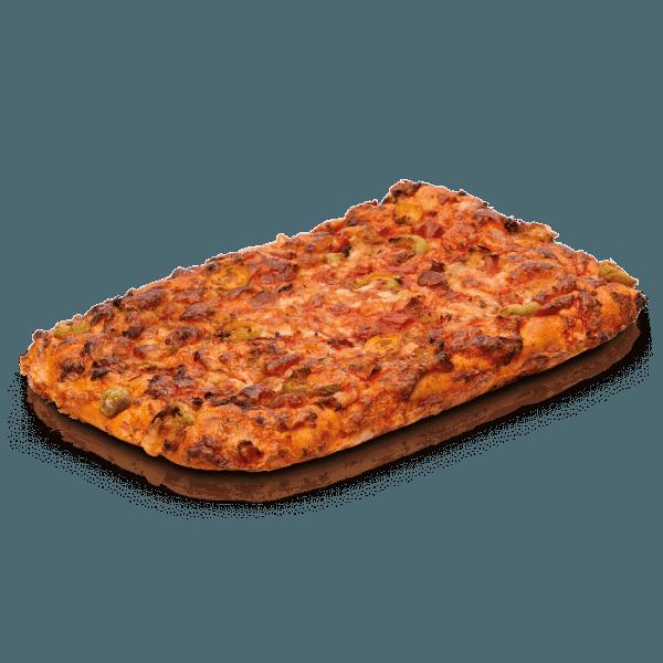 Pizza cuadrada mediterránea