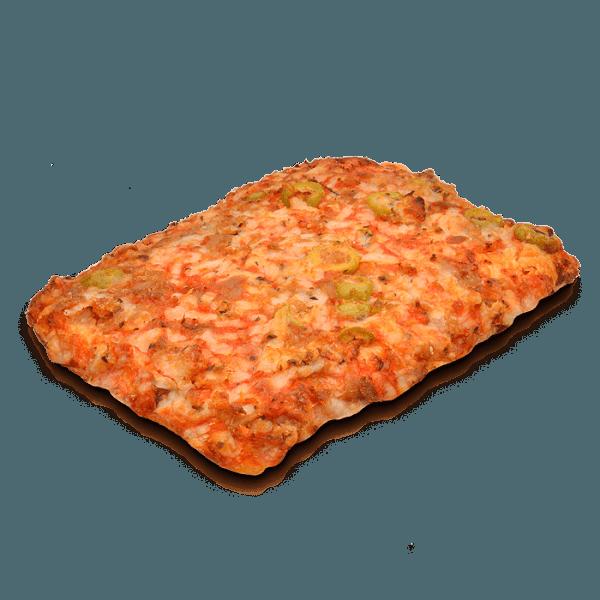 Pizza cuadrada atún