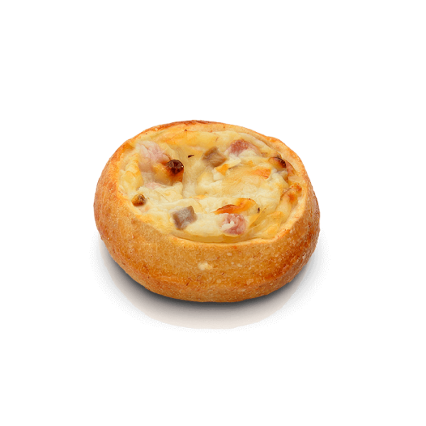 Mini pizza carbonara